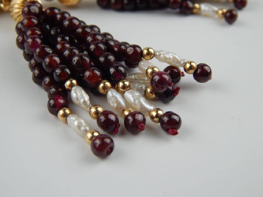 14K GENUINE GARNET PEARL 6 STRAND TASSEL NECKLACE - 4