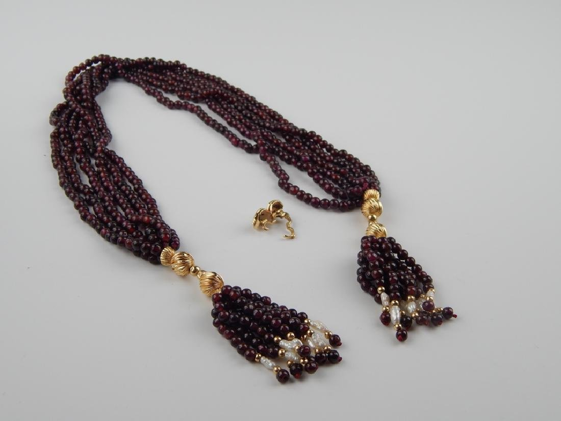 14K GENUINE GARNET PEARL 6 STRAND TASSEL NECKLACE - 6