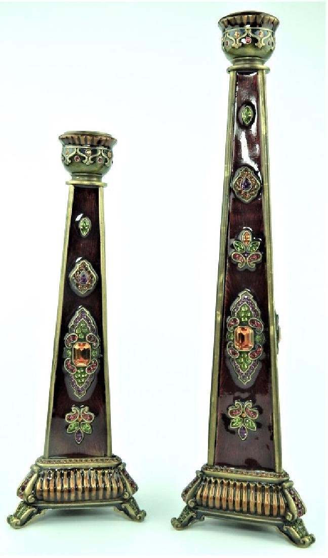 PAIR OF JAY STRONGWATER GRADUATING CANDLESTICKS