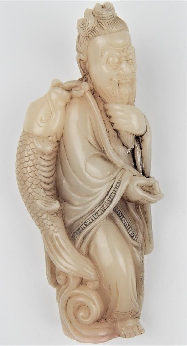 CHINESE WHITE JADE FISHERMAN FIGURAL CARVED SEAL