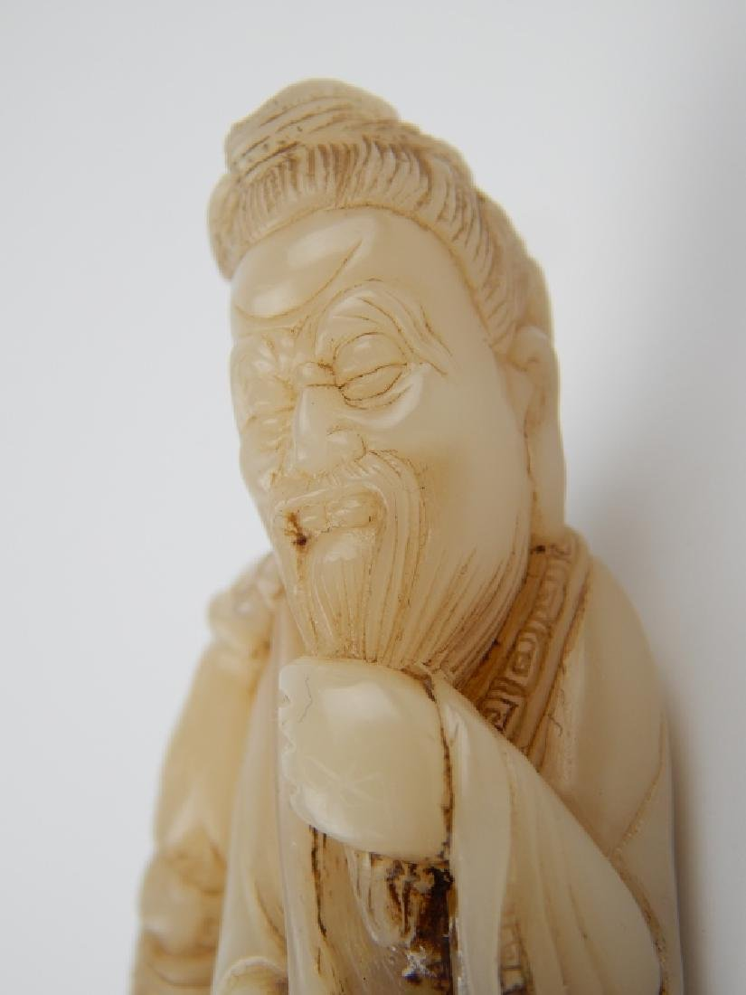 CHINESE WHITE JADE FISHERMAN FIGURAL CARVED SEAL - 2