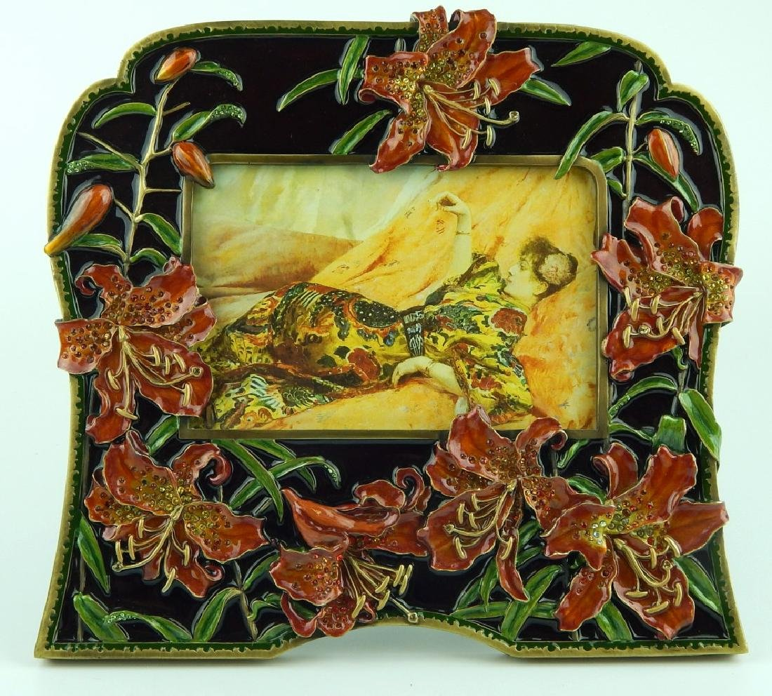 JAY STRONGWATER LILY FLORAL ENAMELED PICTURE FRAME