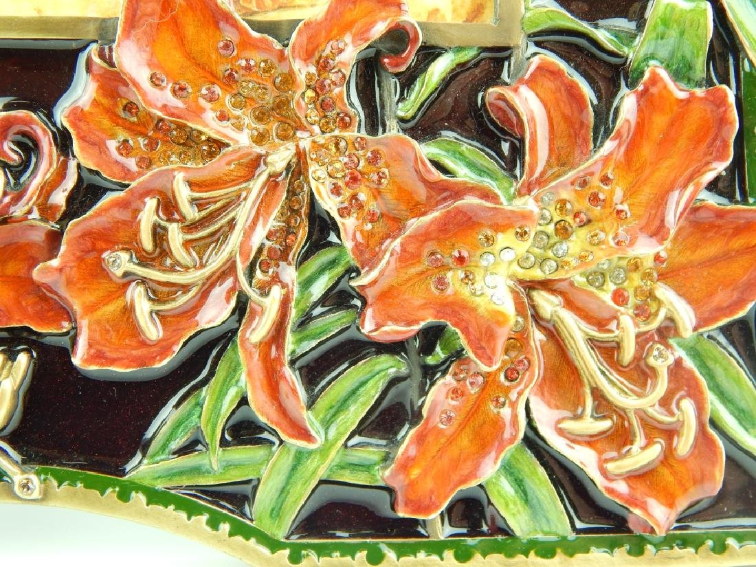 JAY STRONGWATER LILY FLORAL ENAMELED PICTURE FRAME - 2
