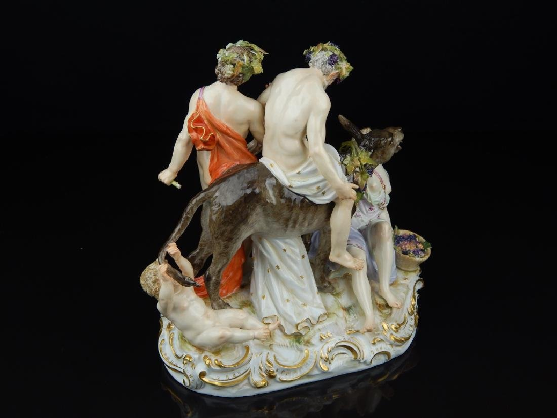 "ANTIQUE MEISSEN ""SILENUS ON DONKEY"" SCULPTURE - 3"