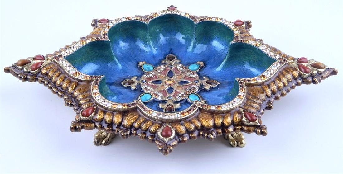 JAY STRONG WATER ENAMELED JEWELED TRINKET DISH
