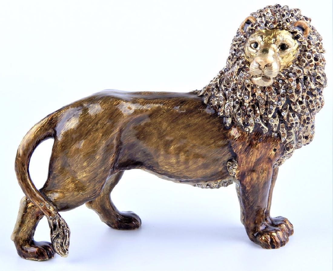 JAY STRONGWATER ENAMELED STANDING LION FIGURE