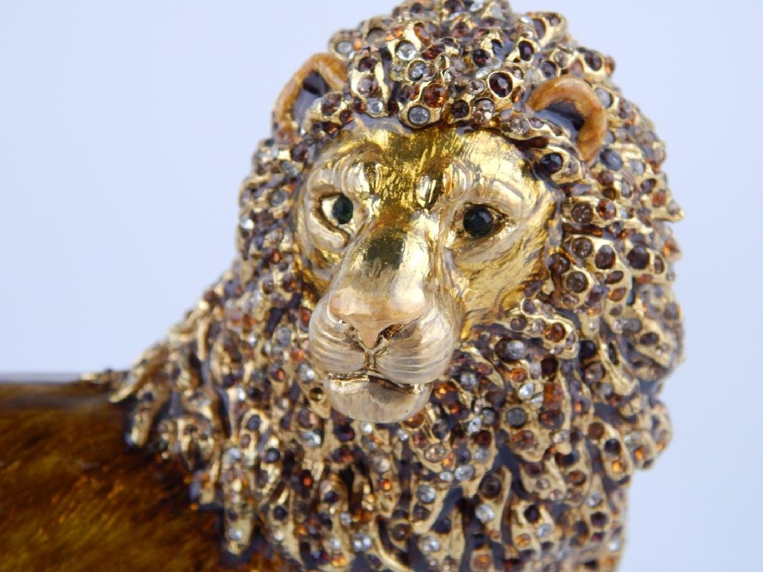 JAY STRONGWATER ENAMELED STANDING LION FIGURE - 2