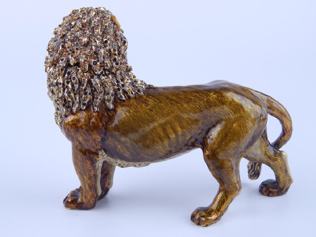 JAY STRONGWATER ENAMELED STANDING LION FIGURE - 4