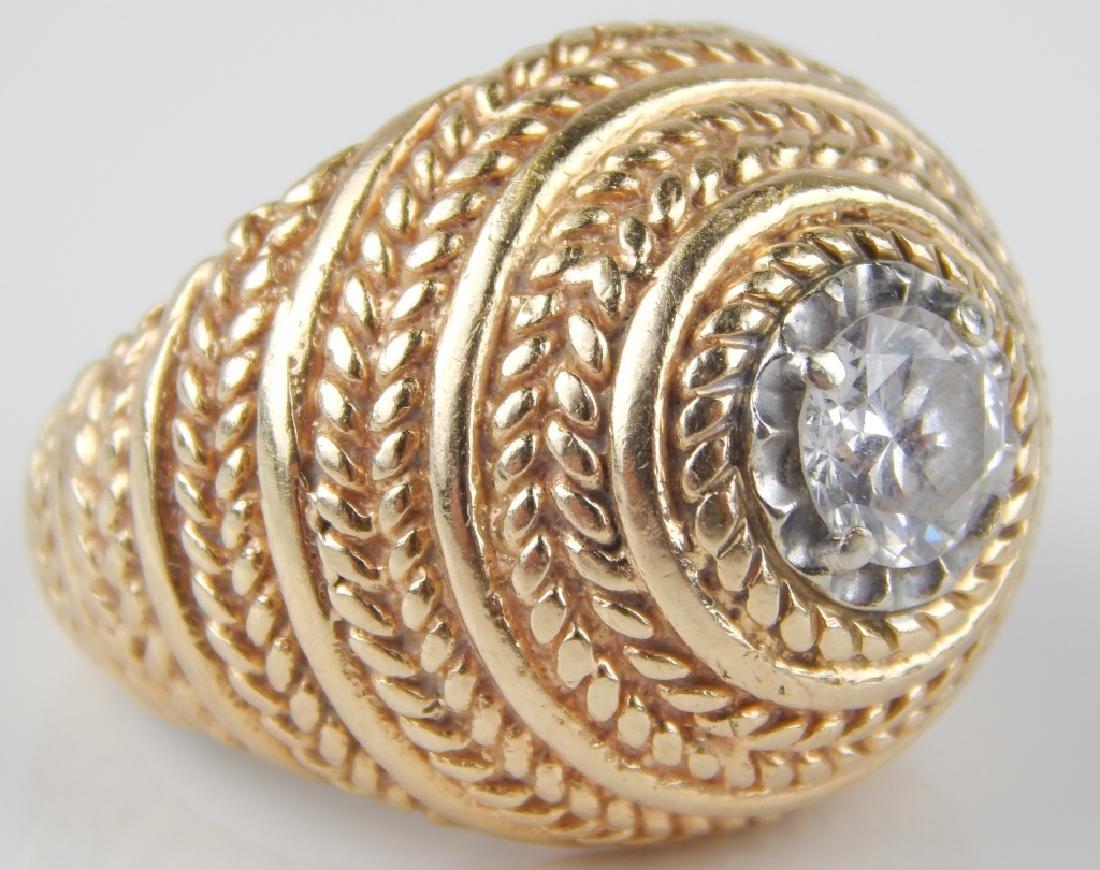 .75CT DIAMOND 14K YELLOW GOLD DOMED RING Sz 7