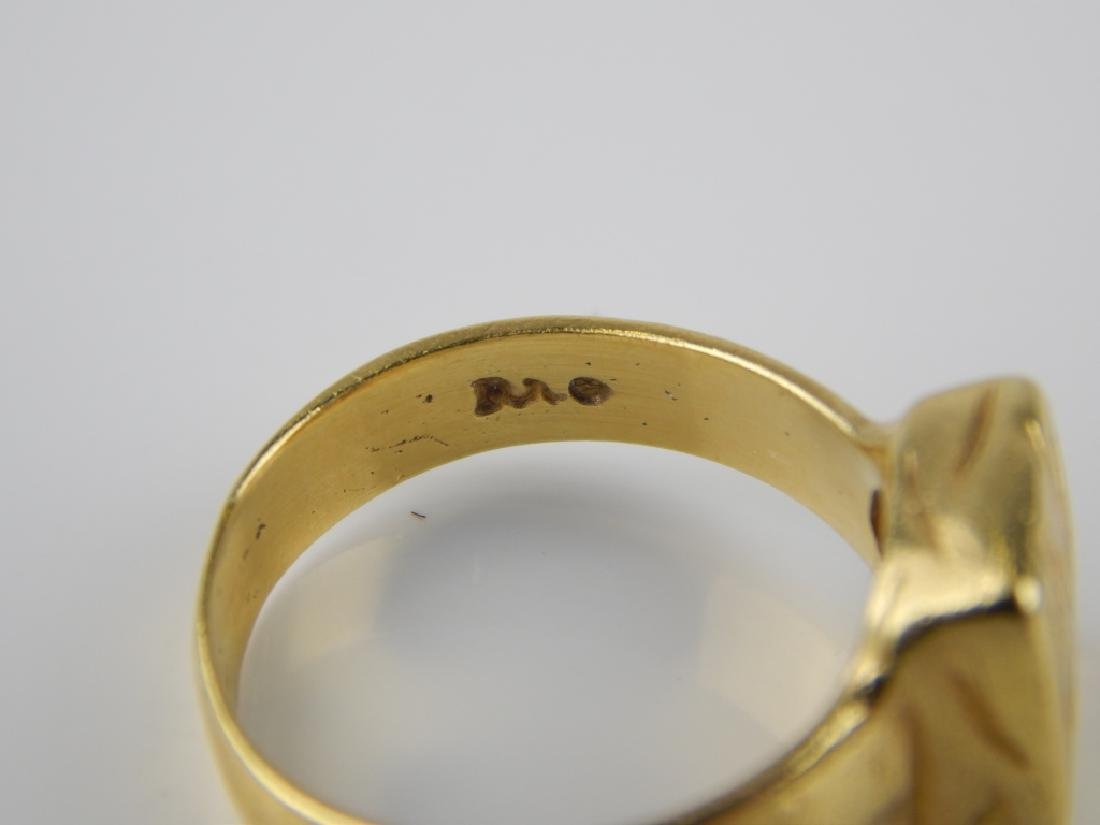 BY RA 18K YELLOW GOLD ETCHED CENTER RING Sz 6 - 3