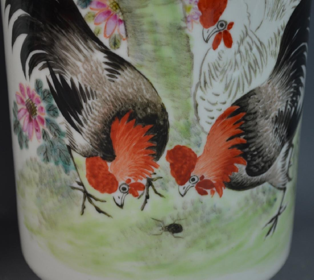Pr CHINESE QIANLONG FAMILLE ROSE ROOSTERS VASES - 2