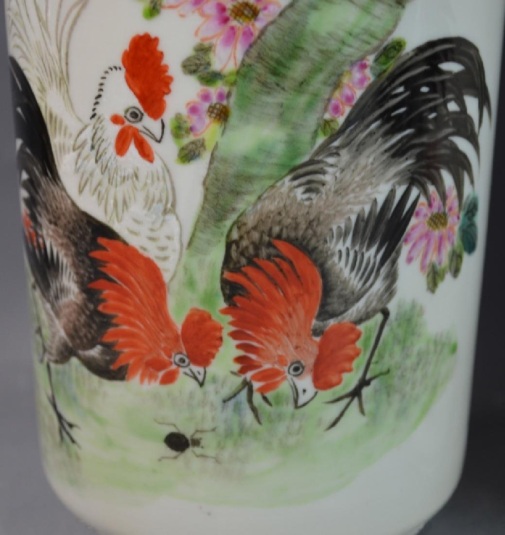 Pr CHINESE QIANLONG FAMILLE ROSE ROOSTERS VASES - 3