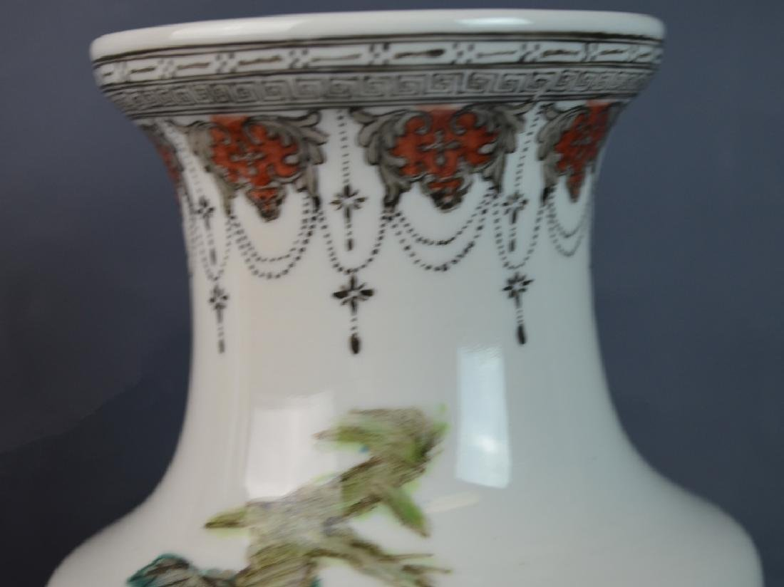 Pr CHINESE QIANLONG FAMILLE ROSE ROOSTERS VASES - 5