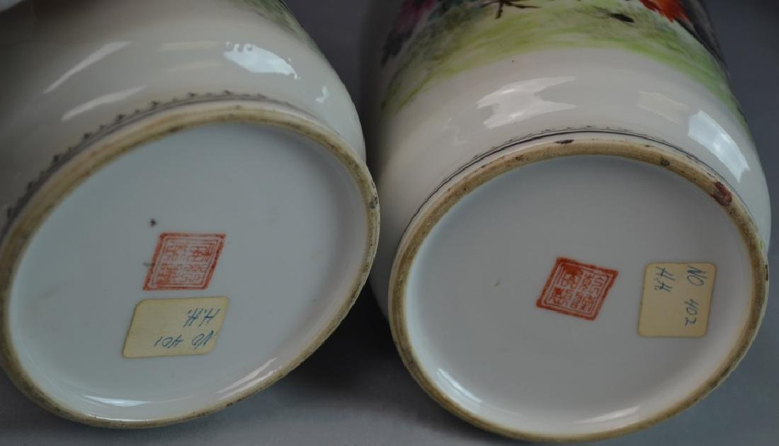 Pr CHINESE QIANLONG FAMILLE ROSE ROOSTERS VASES - 7