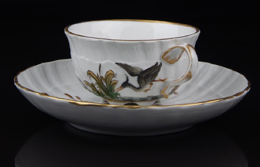 ANTIQUE MEISSEN SWAN TEA CUP AND SAUCER SET