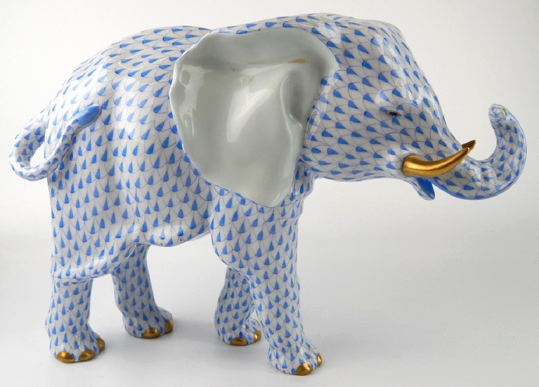 LARGE HEREND BLUE FISHNET STANDING ELEPHANT FIGURE