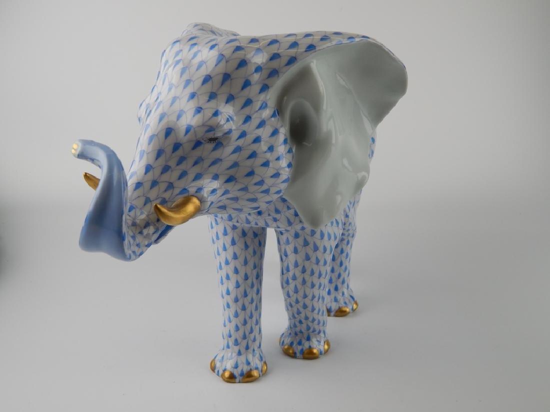 LARGE HEREND BLUE FISHNET STANDING ELEPHANT FIGURE - 3