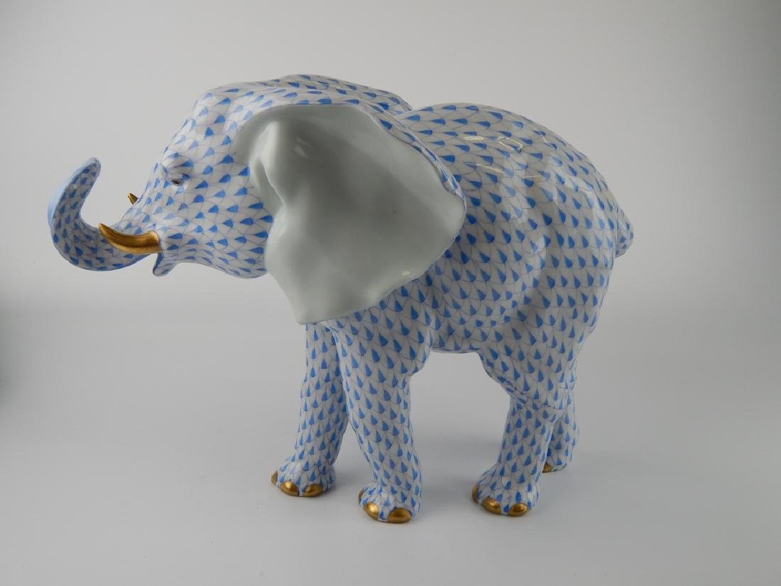 LARGE HEREND BLUE FISHNET STANDING ELEPHANT FIGURE - 4