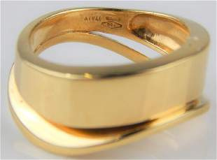 VENTO 18K YELLOW GOLD MODERNIST WAVE RING Sz 825