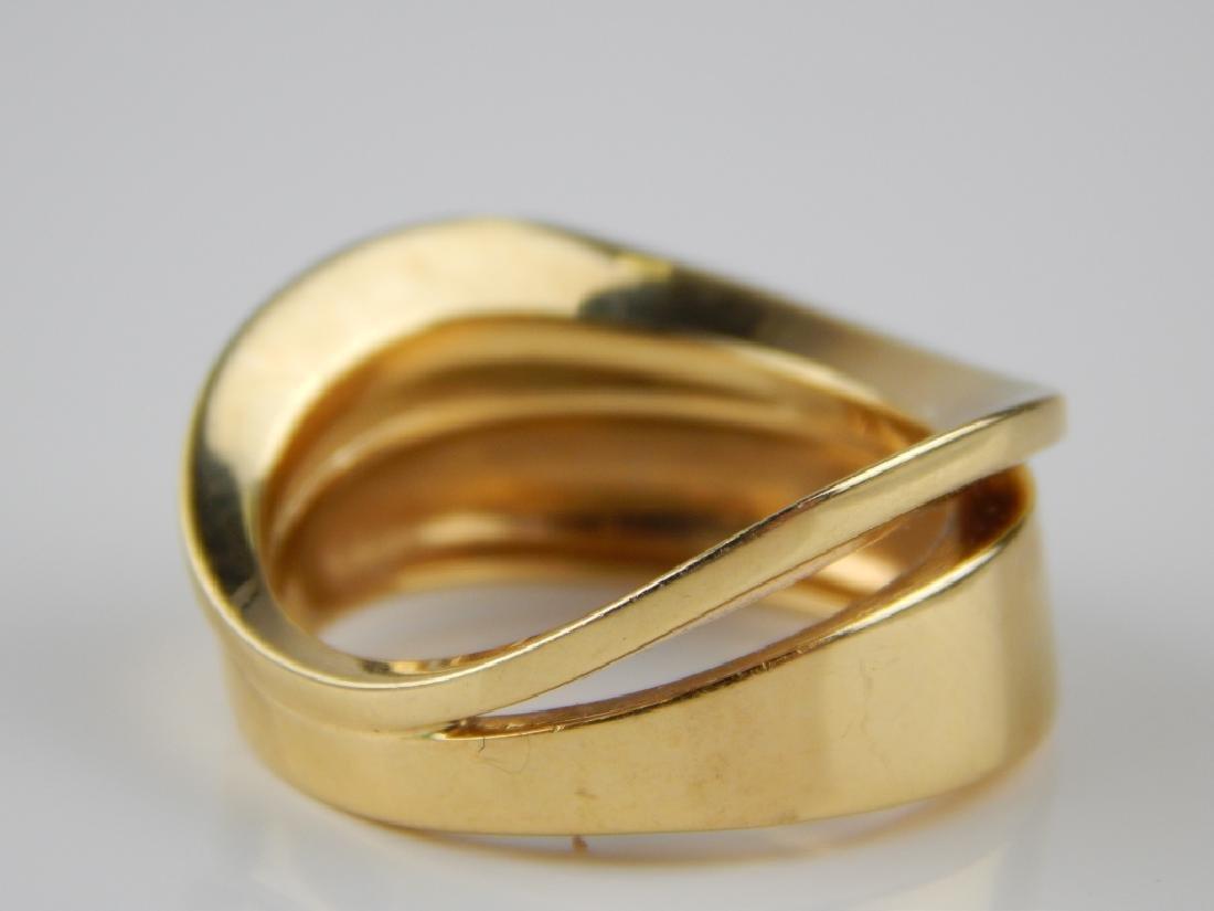 VENTO 18K YELLOW GOLD MODERNIST WAVE RING Sz 8.25 - 4