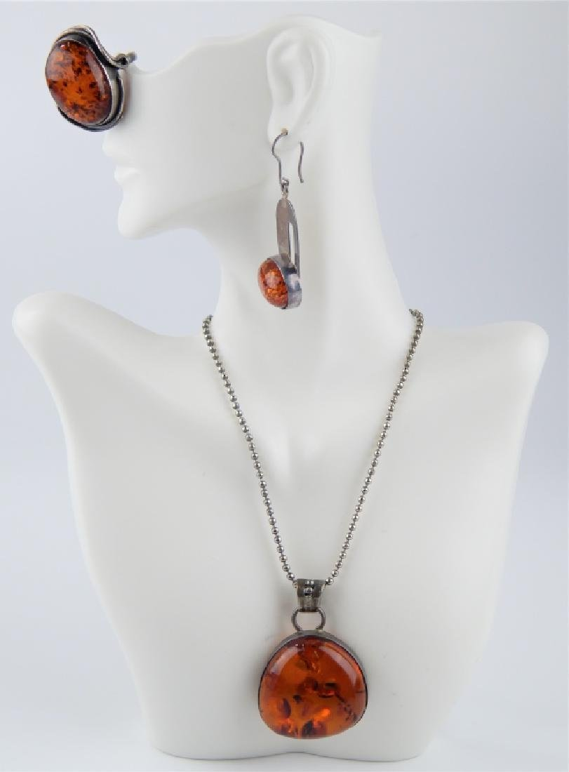 POLISH STERLING BALTIC AMBER 4pc JEWELRY SUITE