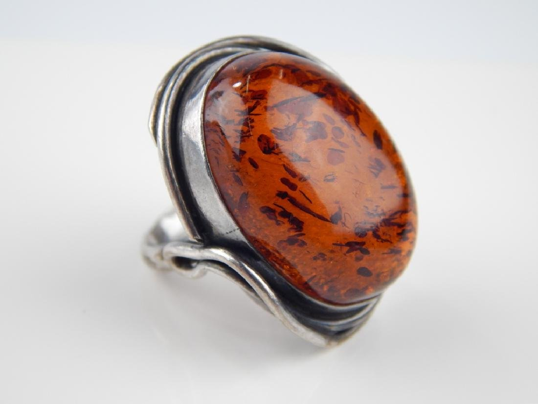POLISH STERLING BALTIC AMBER 4pc JEWELRY SUITE - 2