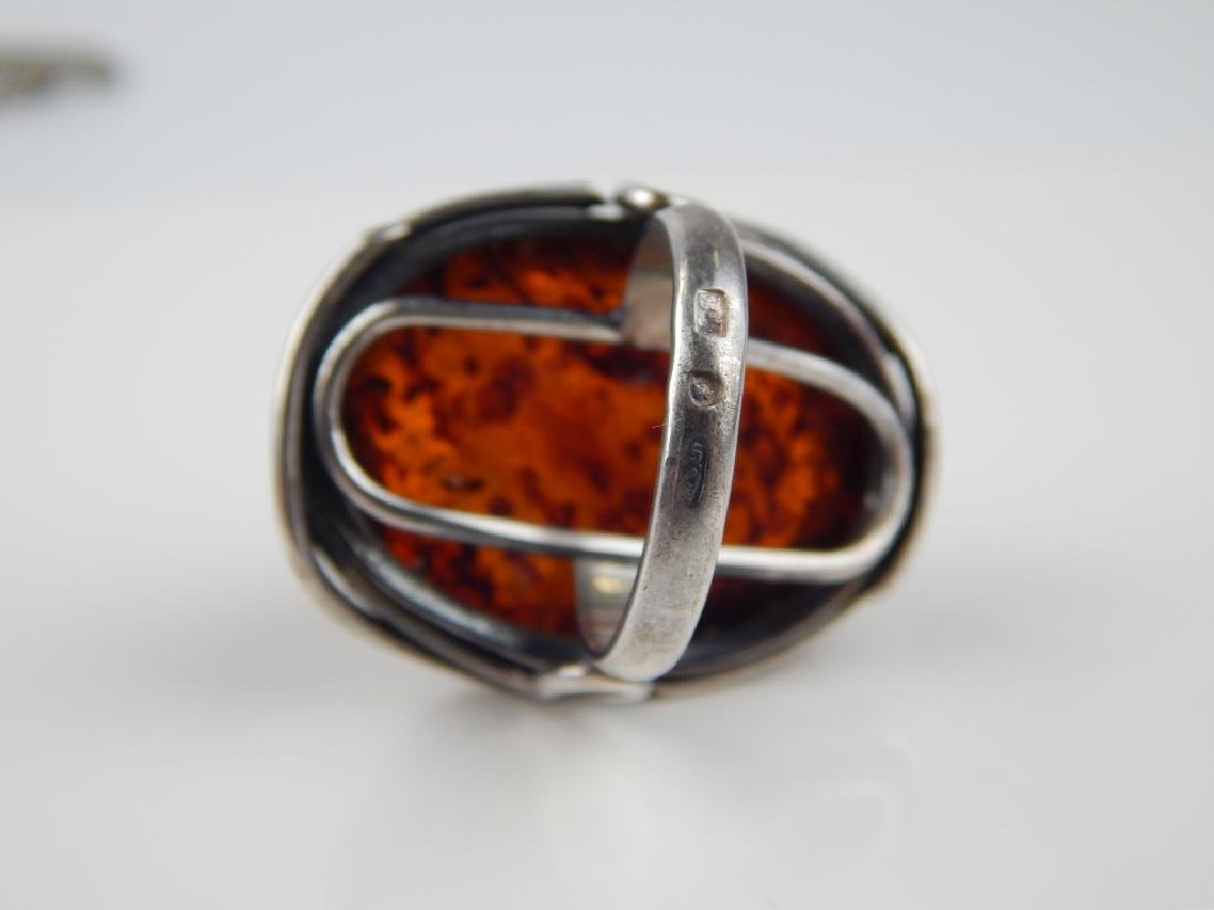 POLISH STERLING BALTIC AMBER 4pc JEWELRY SUITE - 3