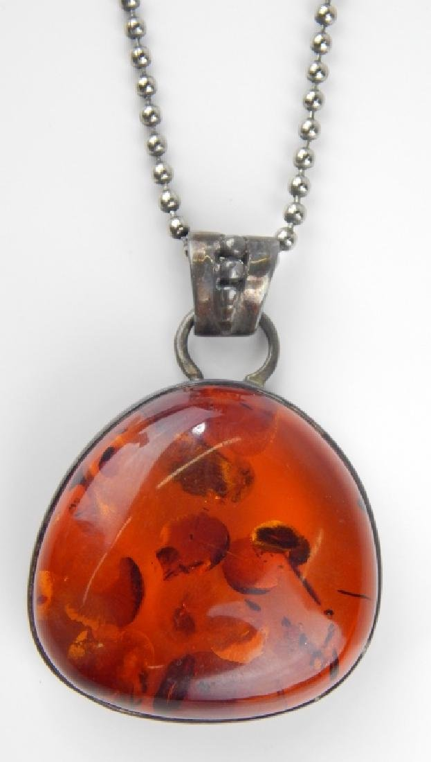 POLISH STERLING BALTIC AMBER 4pc JEWELRY SUITE - 7