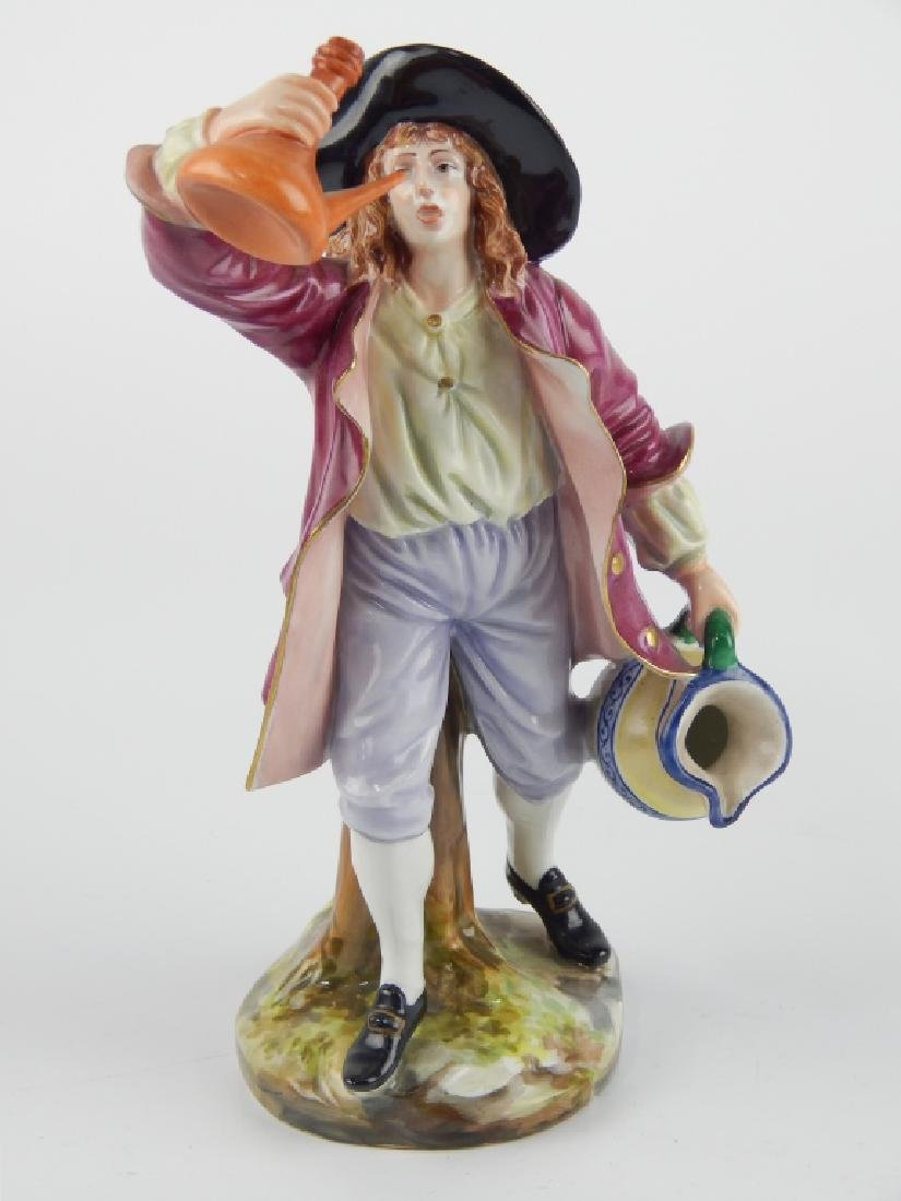 ANTIQUE CAPODIMONTE GINORI PORCELAIN DRINKING MAN - 2