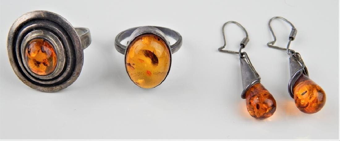 POLISH STERLING BALTIC AMBER 3pc JEWELRY SUITE