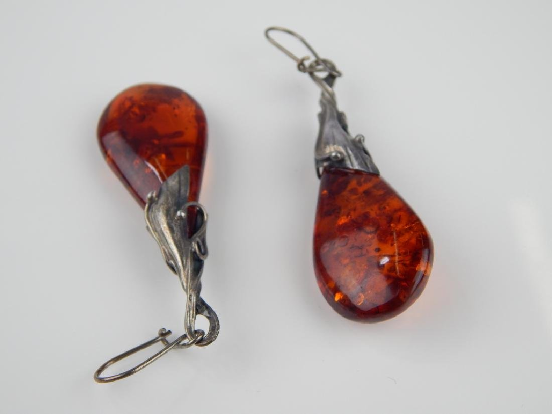 POLISH STERLING BALTIC AMBER 4pc JEWELRY SUITE - 4