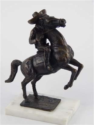 F CHAVEZ BRONZE SCULPTURE OF HORSEBACK RIDER