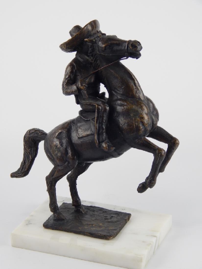 F. CHAVEZ BRONZE SCULPTURE OF HORSEBACK RIDER
