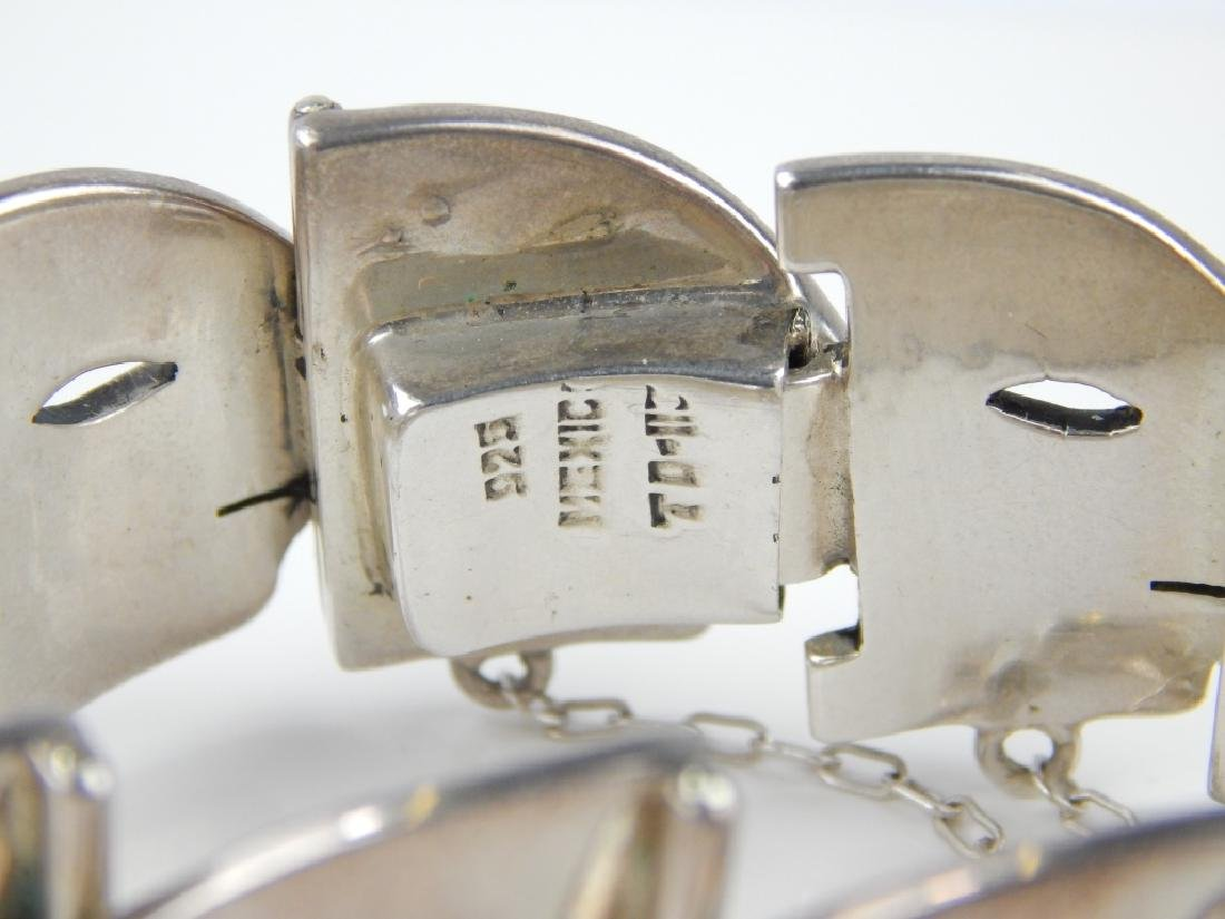 HEAVY MEXICAN STERLING FACE PROFILE LINK BRACELET - 2