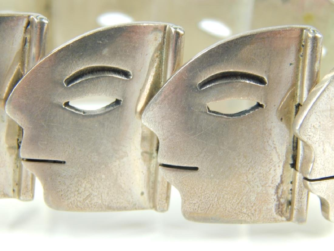 HEAVY MEXICAN STERLING FACE PROFILE LINK BRACELET - 3