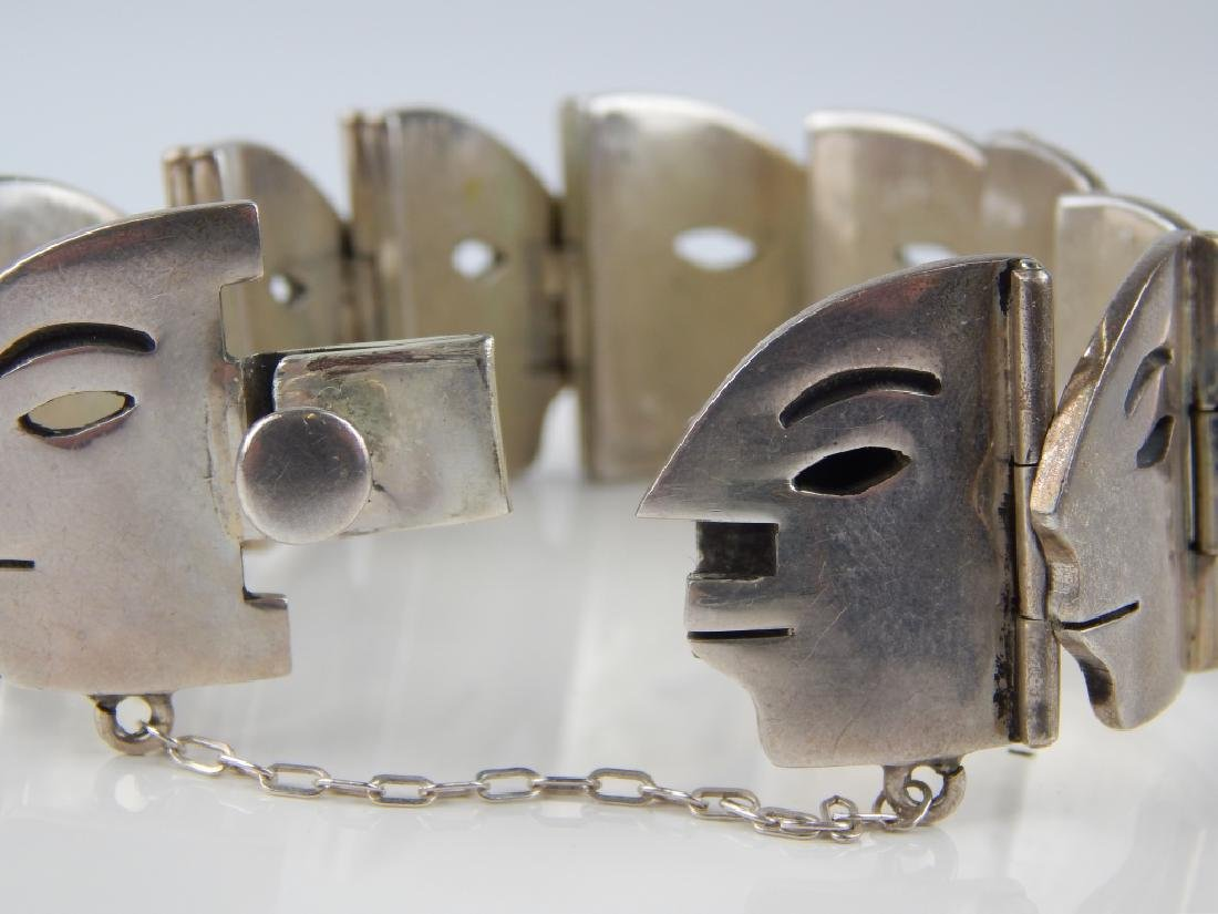 HEAVY MEXICAN STERLING FACE PROFILE LINK BRACELET - 5