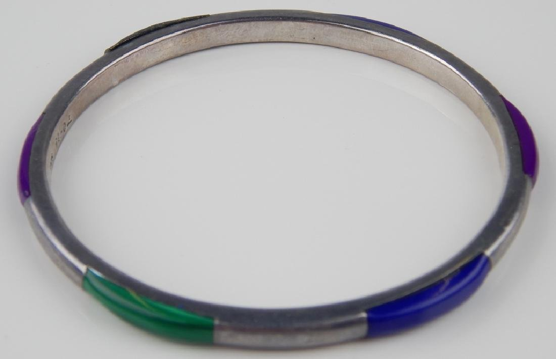 MEXICAN MULTI-GEMSTONE STERLING SILVER BANGLE