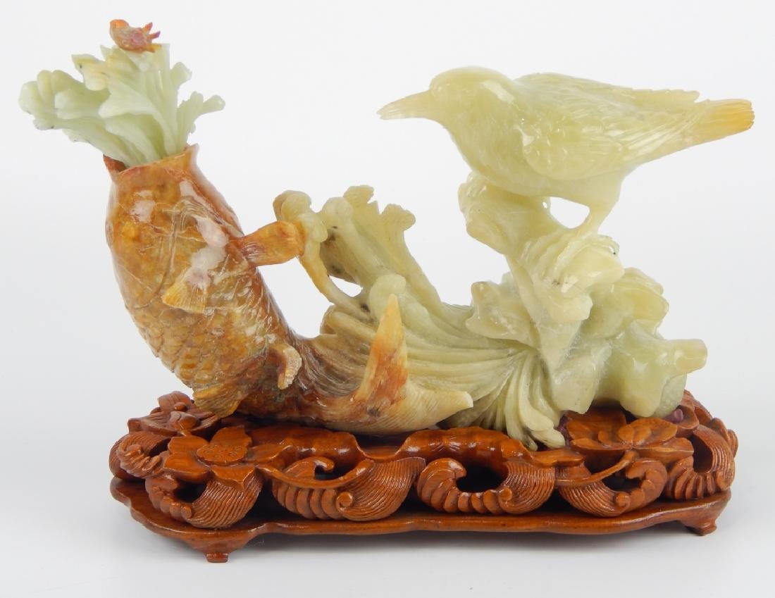 CHINESE SERPENTINE JADE FISH & BIRD ANIMAL GROUP