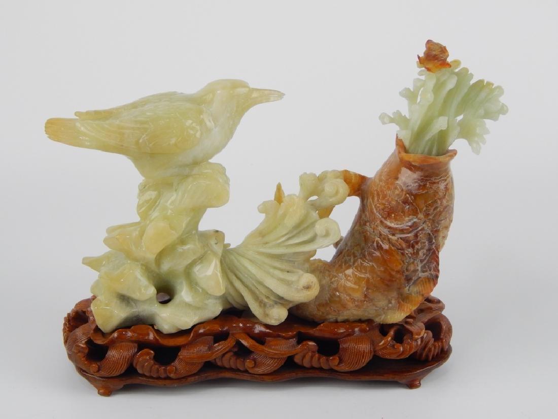 CHINESE SERPENTINE JADE FISH & BIRD ANIMAL GROUP - 4