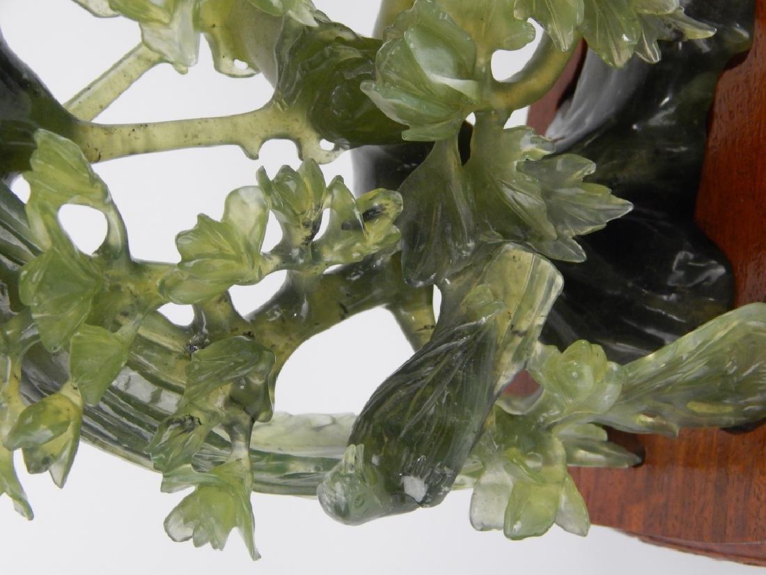 CHINESE GREEN SERPENTINE JADE PHOENIX BIRD GROUP - 2