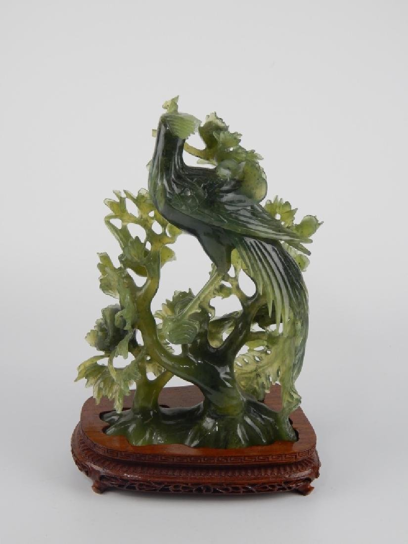 CHINESE GREEN SERPENTINE JADE PHOENIX BIRD GROUP - 4