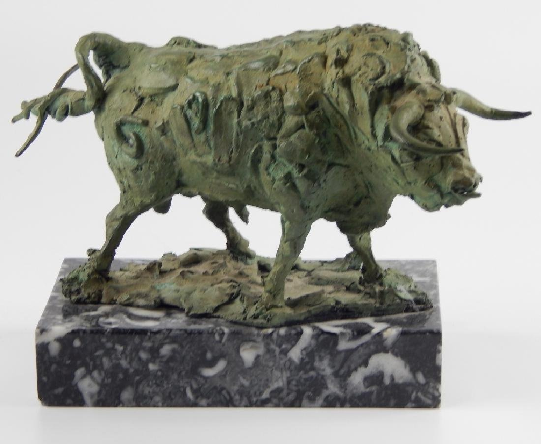 SIGNED BRUTALIST BRONZE BULL SCULPTURE ON BASE