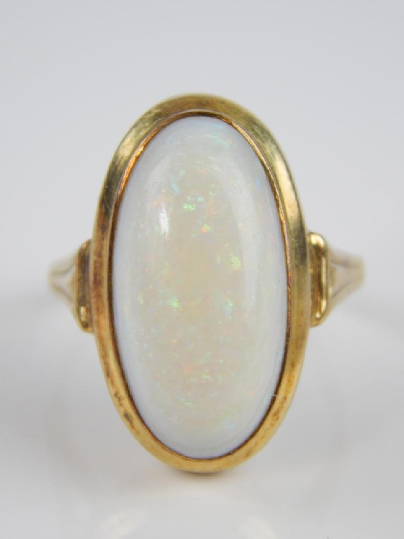 CABOCHON WHITE OPAL 14K YELLOW GOLD RING By FB - 2