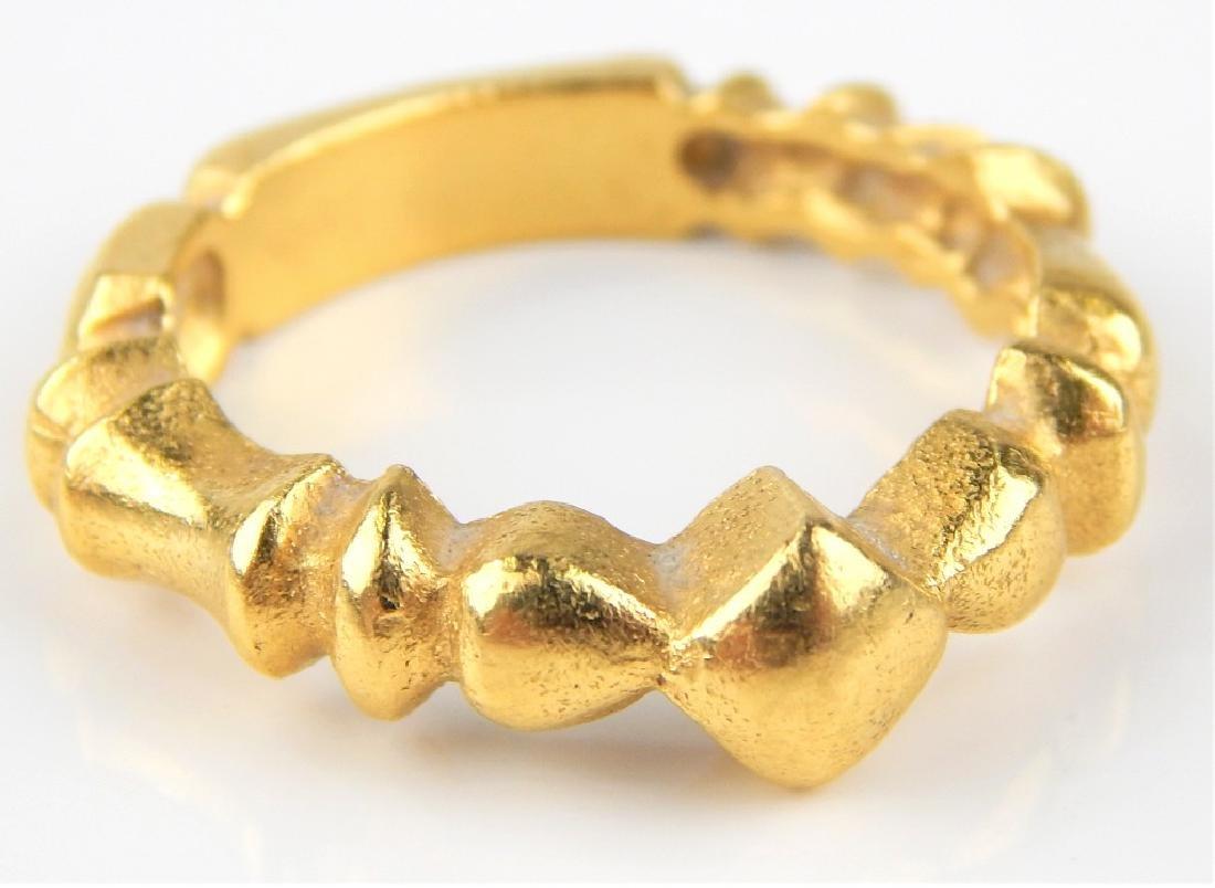 18K YELLOW GOLD DIAMOND RIBBED BAND RING Sz 6.25
