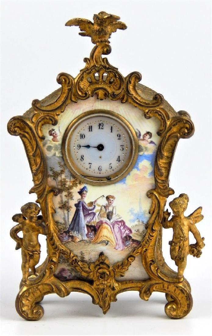 ANTIQUE FRENCH ENAMEL GILT METAL SCENIC CLOCK
