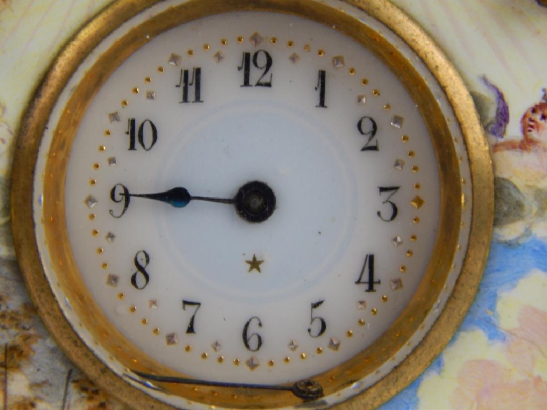 ANTIQUE FRENCH ENAMEL GILT METAL SCENIC CLOCK - 3