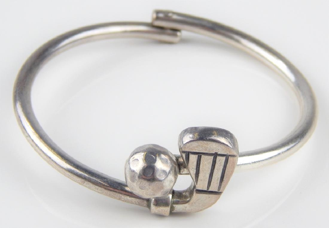 MEXICO STERLING SILVER GOLF HINGED BANGLE BRACELET