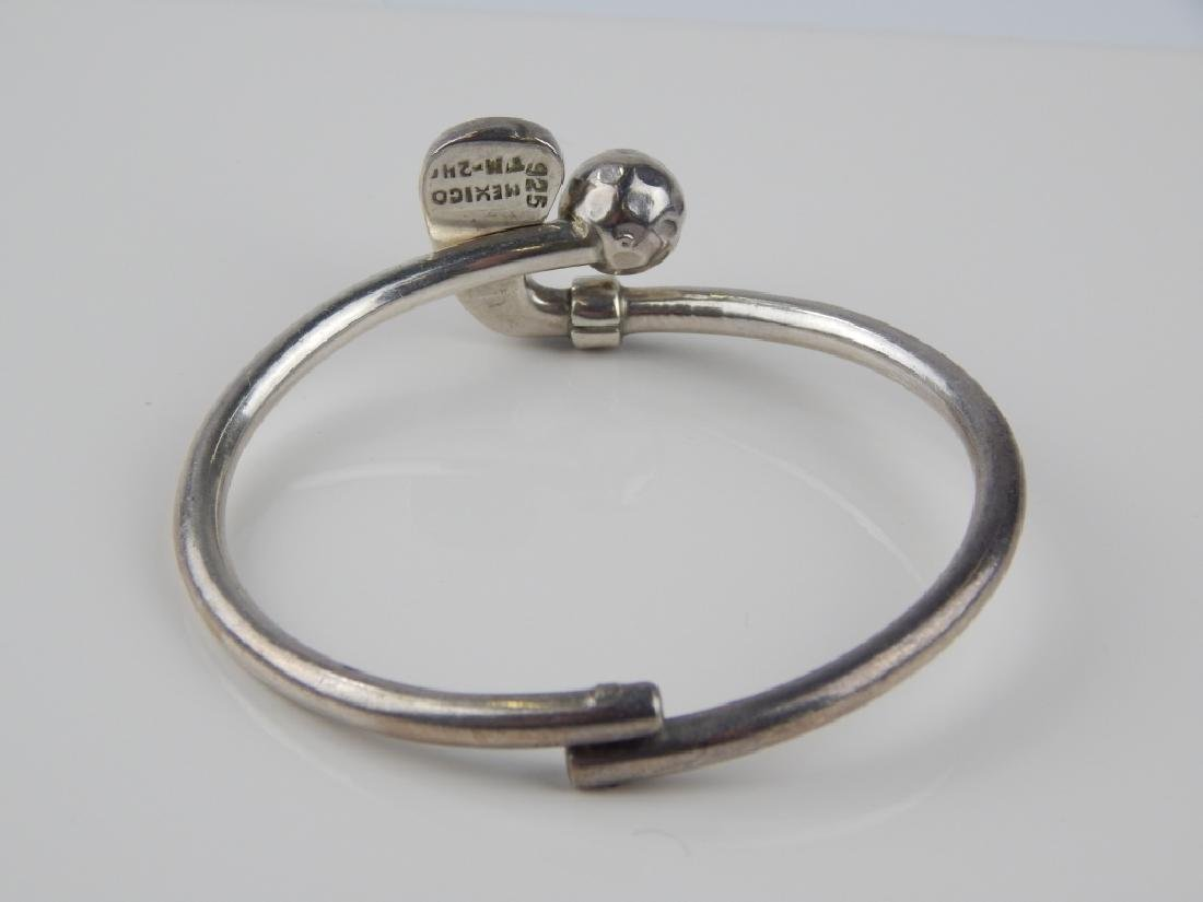 MEXICO STERLING SILVER GOLF HINGED BANGLE BRACELET - 3