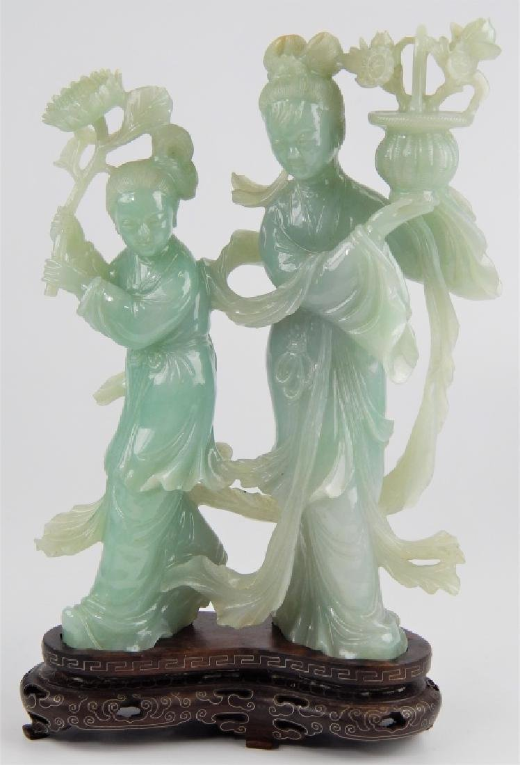 CHINESE PALE GREEN JADEITE FEMALE GROUPE SCULPTURE