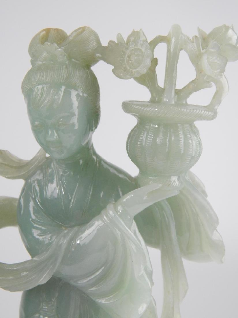 CHINESE PALE GREEN JADEITE FEMALE GROUPE SCULPTURE - 2